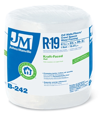 R19 Kraft Faced Fiberglass, 75.07-Sq.-Ft. Coverage, 6.5 x 23-In. x 39' 2