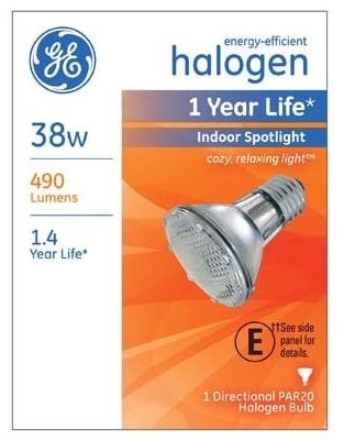 Halogen Spotlight Bulb, Indoor, Par 20, 38-Watt
