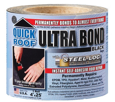 Ultra Bond Roof Repair, Self-Adhesive, Black, 4-In. x 25-Ft.