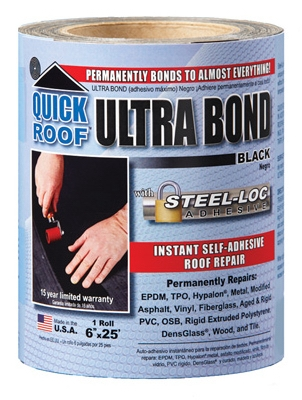 Ultra Bond Roof Repair, Self-Adhesive, Black, 6-In. x 25-Ft.