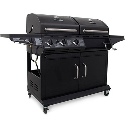 Combination Charcoal/Gas Grill +  Side Burner, 36,000 BTU