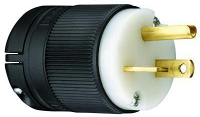Legrand Straight Blade Plug, Clamp-Lock, 20-Amp 125-Volt