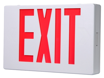LED Exit Sign, Battery Back-Up, Red & White Thermoplastic