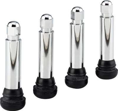 Tubeless Tire Valve, Chrome, 4-Pk.