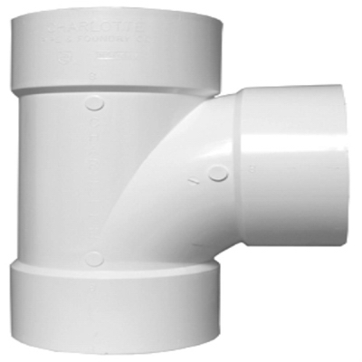 Plastic Pipe Fitting, DWV  Sanitary Tee, PVC, 2-In.