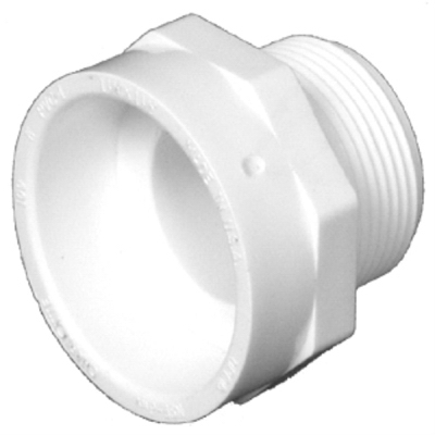 Plastic Pipe Fitting, DWV  Male Pipe Thread Adapter, PVC, 2-In.
