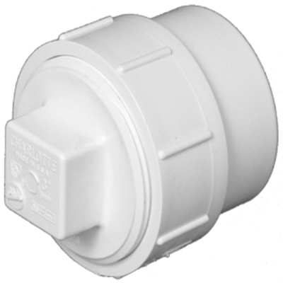 Plastic Pipe Fitting, DWV  Fitting Cleanout With Plug, PVC, 2-In.