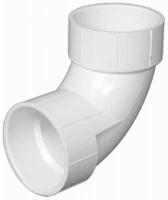 Plastic Pipe Fitting, DWV  Sanitary Elbow, 90-Degree, PVC, 1-1/2-In.