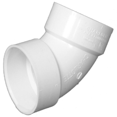 Plastic Pipe Fitting, DWV  Elbow, 60-Degree, PVC, 1-1/2-In.