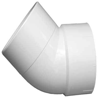 Plastic Pipe Fitting, DWV  Street Elbow, 45-Degree, PVC, 1-1/2-In.