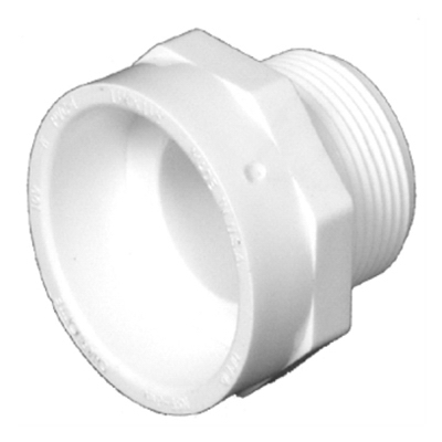 Plastic Pipe Fitting, DWV  Male Pipe Thread Adapter, PVC, 1-1/2-In.