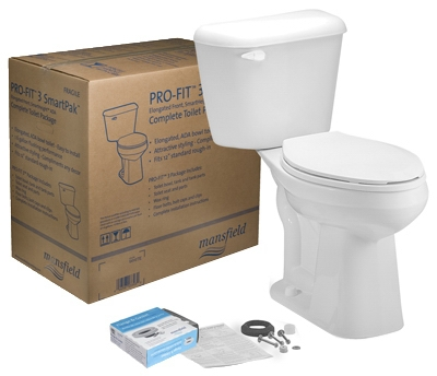 Complete Toilet-To-Go Kit, Low-Flow, White, Round Bowl