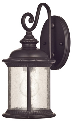 Wall Light Fixture, Outdoor, Oil-Rubbed Bronze & Clear Seeded Glass, 100-Watt, 6.5 x 13.25-In.