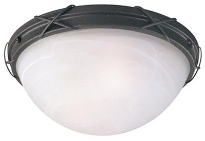 Ceiling Light Fixture, Indoor/Outdoor, Brown Patina & White Alabaster Glass, 12.63 x 5-In.