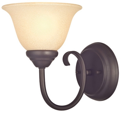 Wall Light Fixture, Indoor, Dark Bronze & Antique Amber Glass, 60-Watt, 6.25 x 8.125-In.