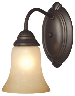 Wall Light Fixture, Indoor, Oil Rubbed Bronze & Aged Alabaster Glass, 60-Watt, 5.8 x 9-In.