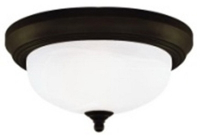 Ceiling Light Fixture, Indoor, Oil Rubbed Bronze & Frosted White Alabaster Glass, 60-Watt, 13 x 5.875-In.