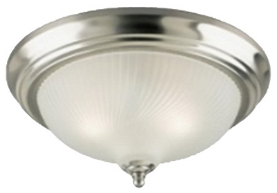 Ceiling Light Fixture, Brushed Nickel & Frosted Swirl Glass, 13-In.
