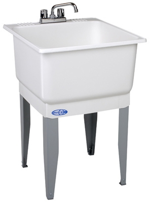 Laundry Tub Kit, White, With Faucet, 23 x 25-In.