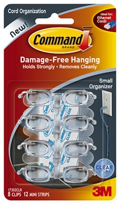 Cord Organizers With Adhesive Strips, Clear, Small, 8 Clips/12 Strips