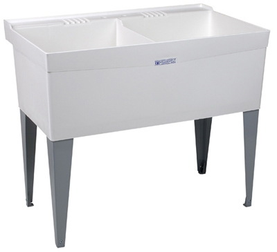 Laundry Tub, Double, White, 40 x 24-In.