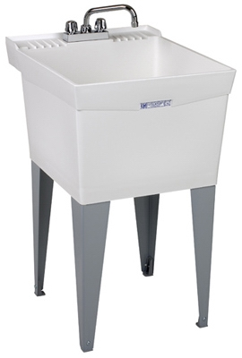 Laundry Tub Kit, White, With Faucet, 20 x 24-In.