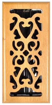 Hardwood Floor Register, Oak Scroll, 4 x 10-In.