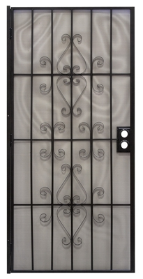 Orleans Security Door, Black Steel, 39 x 81-3/4-In.