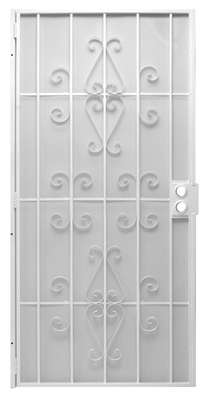 Orleans Security Door, White Steel, 39 x 81-3/4-In.
