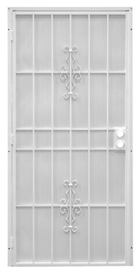 Flagstaff Security Door, White Steel, 39 x 81-3/4-In.