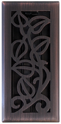 Vine Floor Register, Oil Rubbed Bronze, 4 x 10-In.