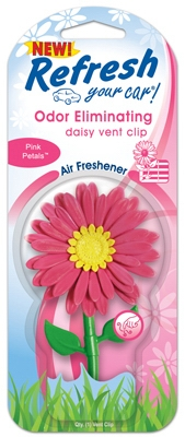 Car Air Freshener, Vent Clip, Daisy Flower With Pink Petal Scent