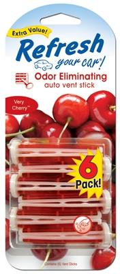 Car Air Freshener, Vent Stick, Very Cherry Scent, 6-Pk.