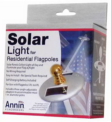 Flag Pole Solar Light, Mini, Silver