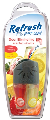 Car Air Freshener, Vent Clip, Adjustable Oil Wick With Fresh Strawberry/Cool Lemonade Scents