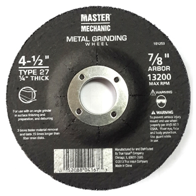 Arbor Metal Depressed Center Grinding Wheel, 4.5 x 0.25 x 7/8-In.