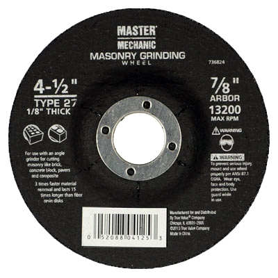 Arbor Metal Depressed Center Cutting Wheel, 4.5 x 0.125 x 7/8-In.