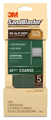 Sandblaster No Slip Grip Sandpaper, 60-Grit, Green, 3-2/3 x 9-In., 5-Pk.