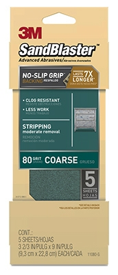 Sandblaster No Slip Grip Sandpaper, 80-Grit, Green, 3-2/3 x 9-In., 5-Pk.