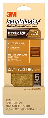 Sandblaster No Slip Grip Sandpaper, 220-Grit, Gold, 3-2/3 x 9-In., 5-Pk.