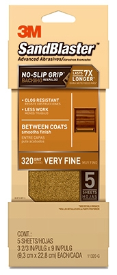 Sandblaster No Slip Grip Sandpaper, 320-Grit, Gold, 3-2/3 x 9-In., 5-Pk.