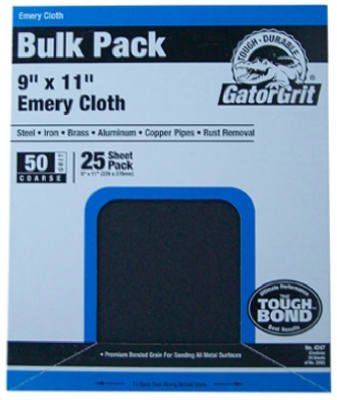 Emery Cloth, Coarse 50-Grit, 9 x 11-In., 25-Ct.