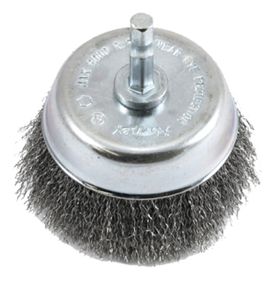 Crimped Wire Cup Brush, 3 x .25 x .008-In.