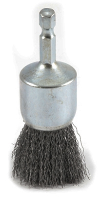 Crimped Wire End Brush, 1 x .25 x .012-In.