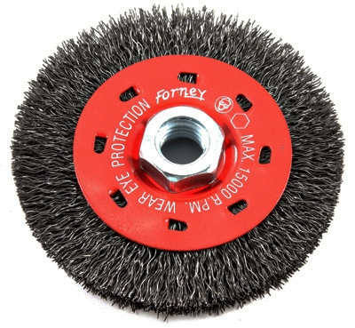 Crimped Wire Wheel Brush, Coarse, 4-In.