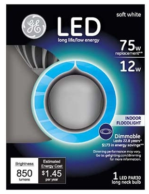 LED Bulb, PAR 30, Long Neck, 12-Watt
