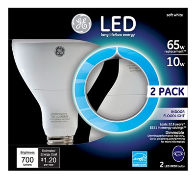 LED Indoor Floodlight Bulb, R30, 10-Watt, 2-Pk.
