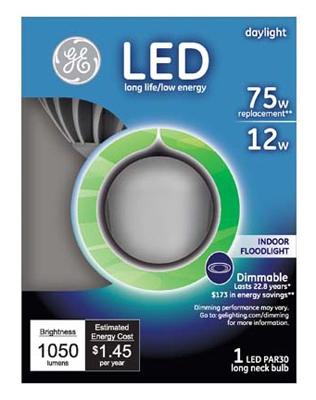 LED Light Bulb, Long-Neck, Par30, 12-Watt