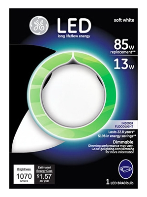 LED Flood Light Bulb, Indoor, BR40, White, 13-Watt
