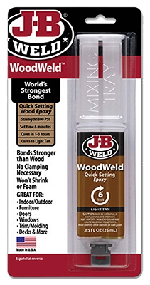 Quick Setting Wood Epoxy Syringe, 25 ml.